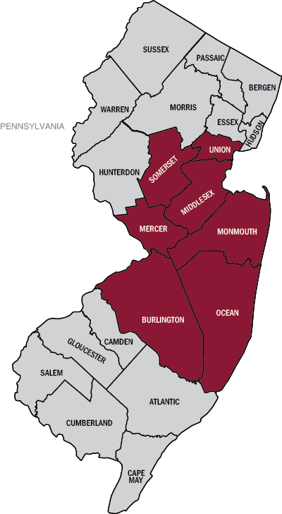 Graphic: Map of New Jersey with Somerset, Mercer, Monmouth, Ocean, Burlington, and Middlesex, and Union counties highlighted
