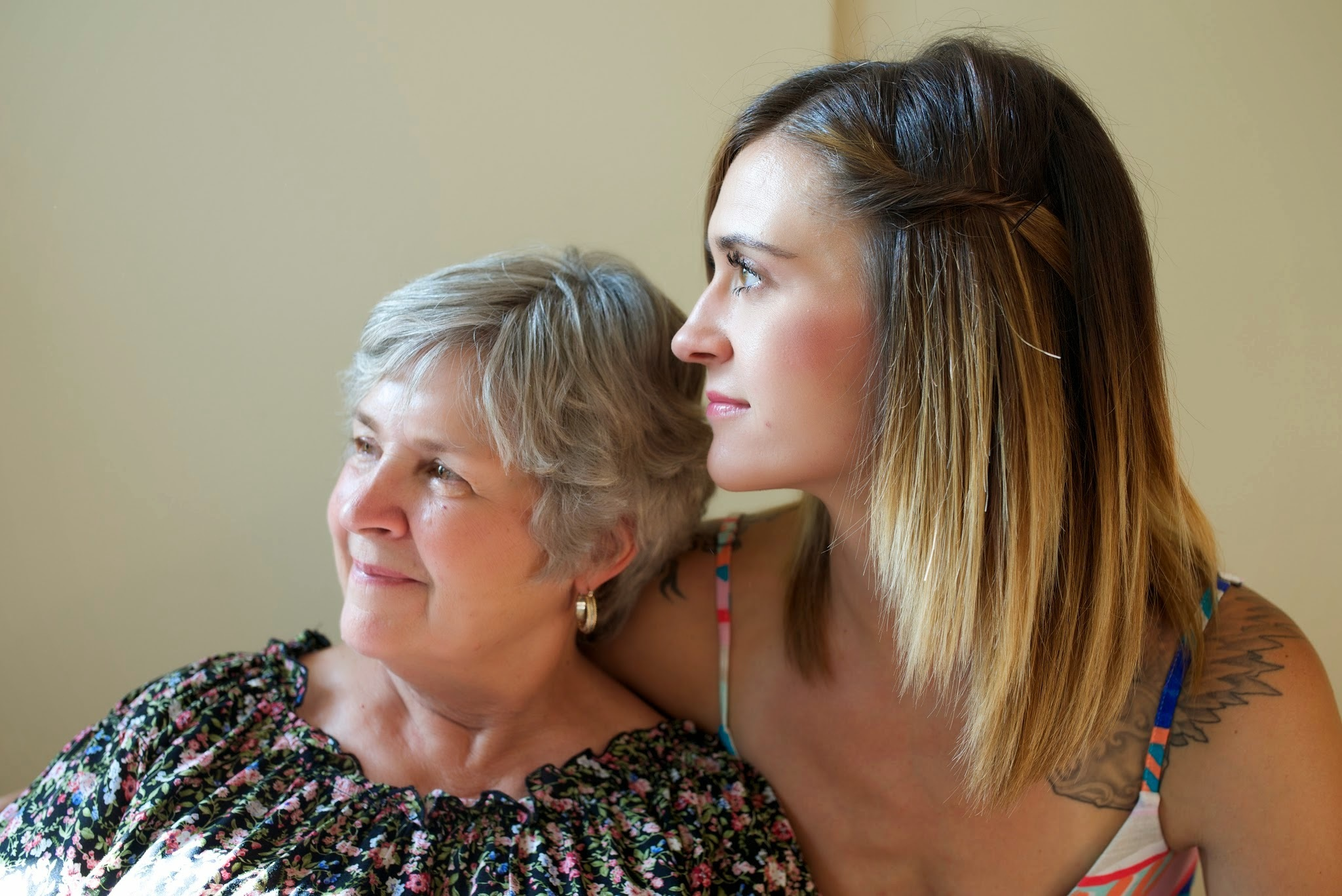 Photo: aging woman and younger woman to her right