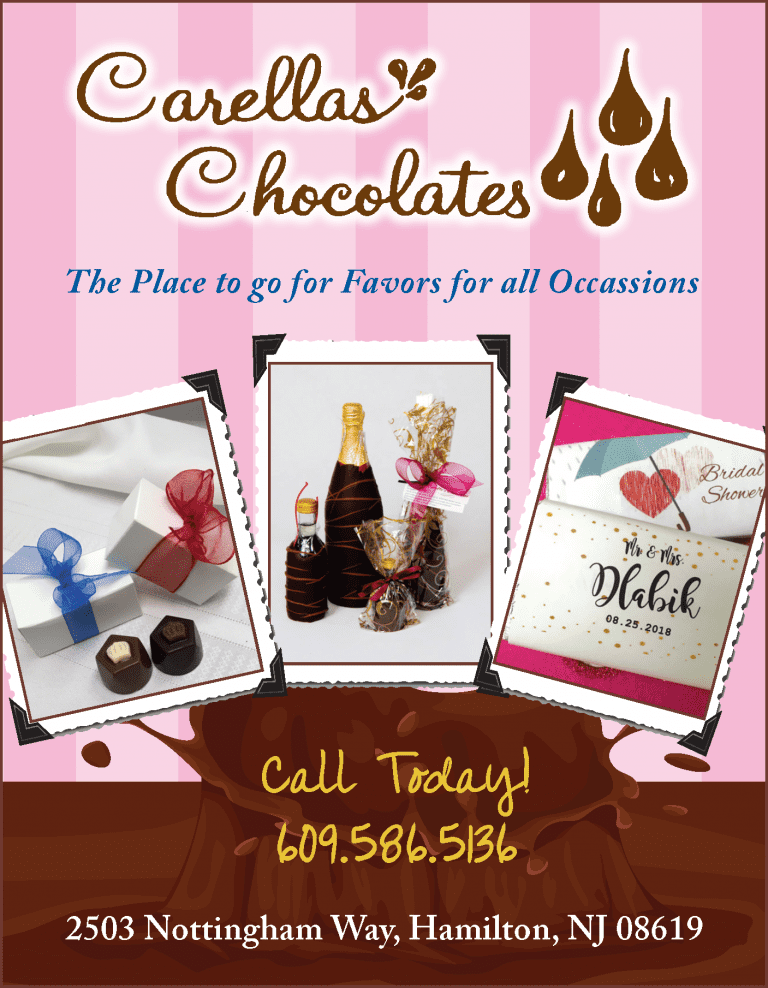 Carella's Chocolates 2503 Nottingham Way, Hamilton, NJ 08619 Call Today! 609.586.5136 YOUR WINE or SPIRITS and WILL CHOCOLATE DIP IT! A Delicious Combination and Gift for any Occassion. Great Gift for Mom's Day, Her Favorites... Wine and Chocolate! let us know when you want to pick it around time is 2 days. The Place to go for Favors for all Occasions