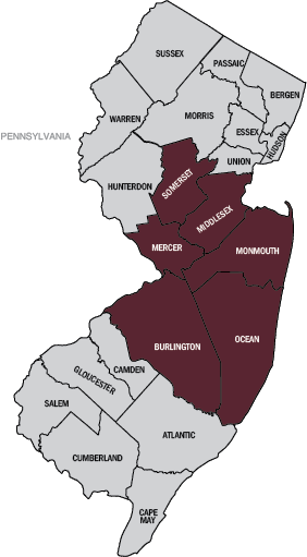 Graphic: Map of New Jersey with Somerset, Mercer, Monmouth, Ocean, Burlington, and Middlesex counties highlighted