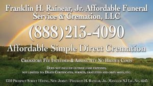 Ad: Franklin H. Rainear Jr. Affordable Funeral and Cremation Service